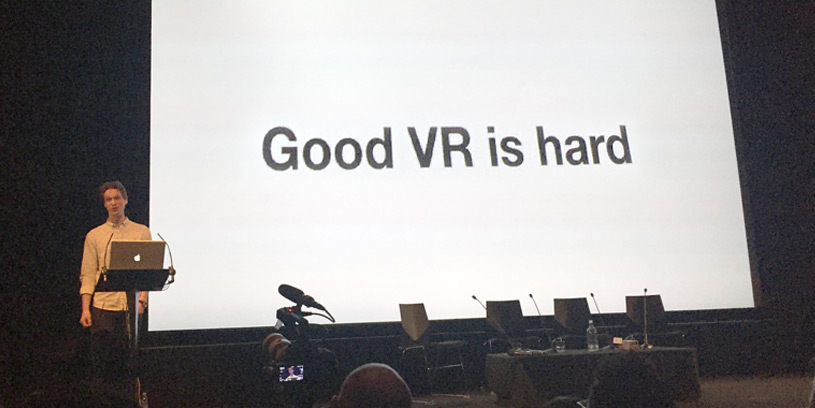 Matthew Newcombe from Ustwo speaking honestly about VR development at the VR Summit